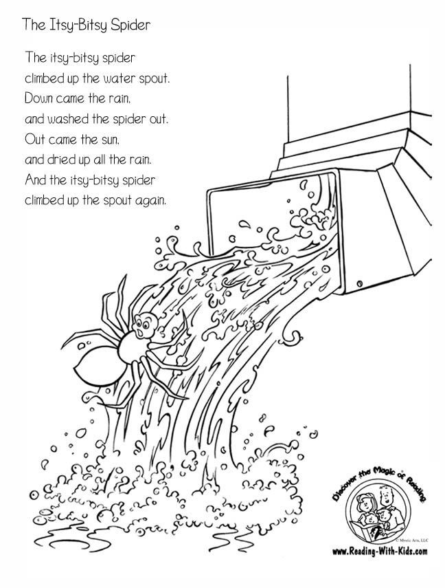 Halloween Reading & Artwork: Itsy Bitsy Spider coloring page- great ...