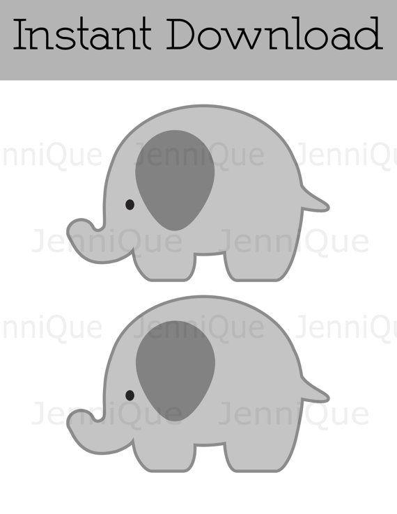 Printable Elephant Party Decor, Gray Elephant Cut Out, Elephant ...