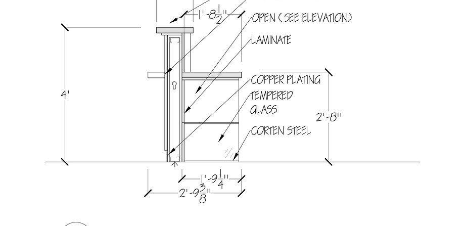 Reception Desk Section Detail Commercial Interior Design