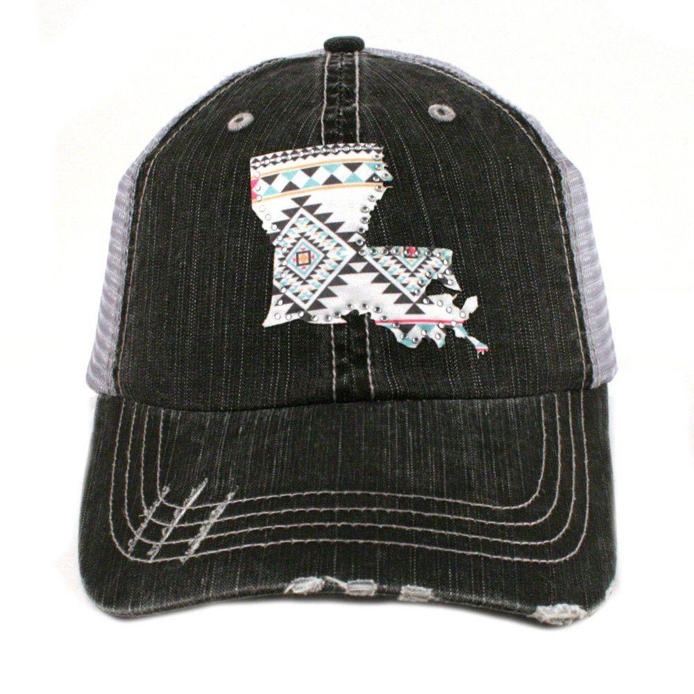 59397f269f15e LOUISIANA AZTEC STATE TRUCKER HAT Patterned emblem of Louisiana state on  dark hat.