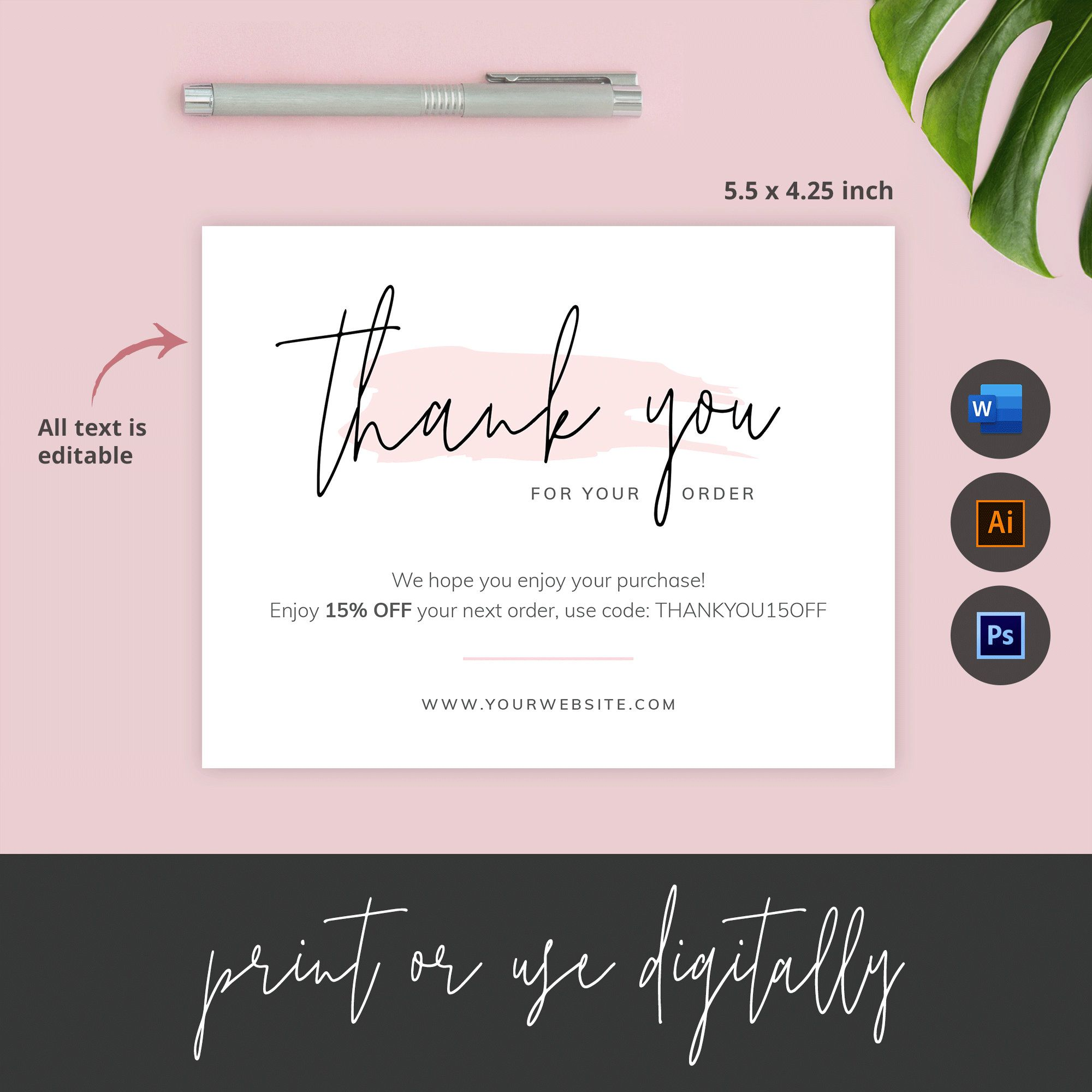Business Thank You Card Template Editable Thank You For Order Etsy Thank You Card Template Card Template Business Thank You Cards