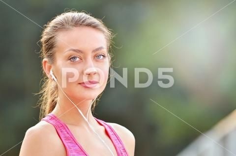 Close up portrait of fitness woman listening music Stock Photos #AD ,#fitness#woman#Close#portrait