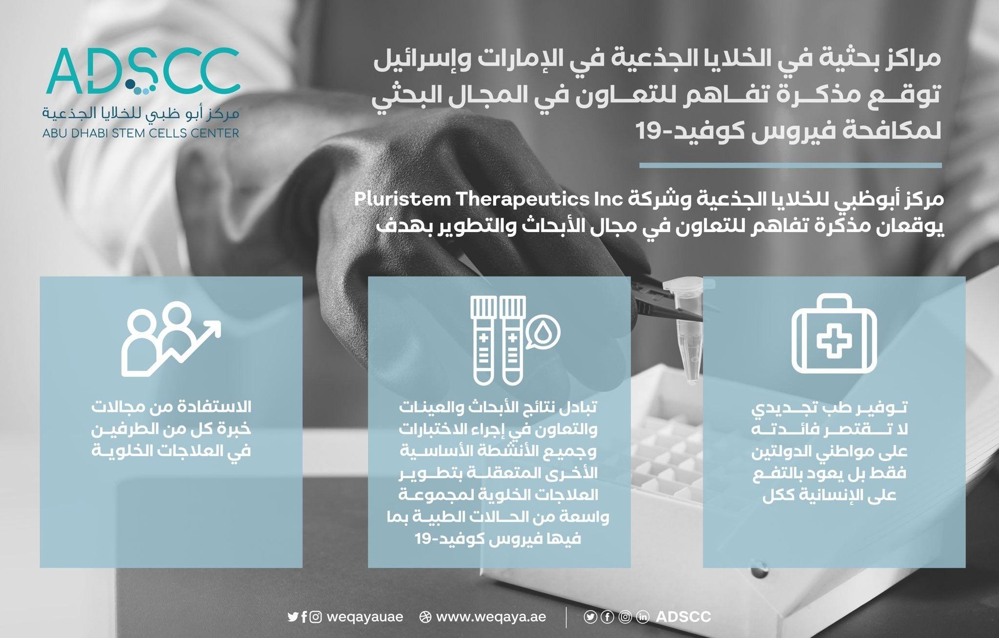 مراكز بحثية في الخلايا الجذعية في الإمارات وإسرائيل توقع مذكرة تفاهم لمكافحة فيروس كورونا Oio Airline Bfl