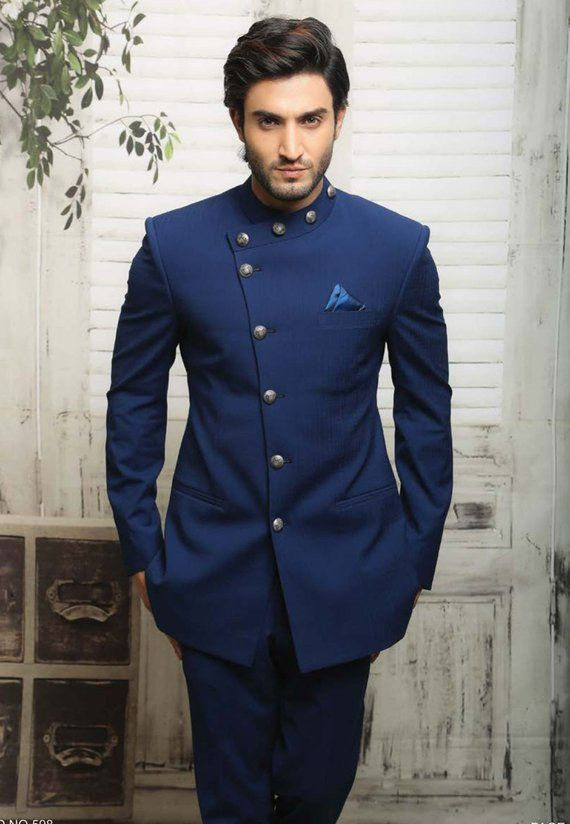 baee18557 Unique Blue Jodhpuri Suit in 2019 | Products | Mens fashion:__cat__ ...
