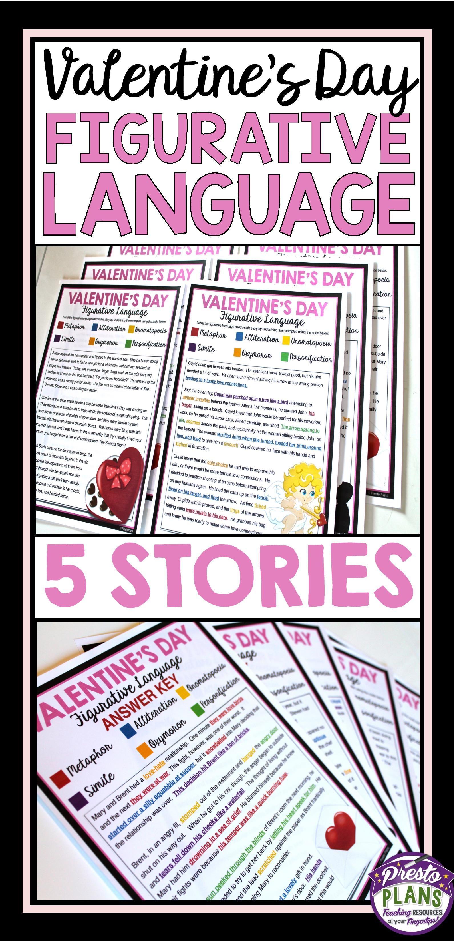 Valentines Day Reading Figurative Language 5 Stories