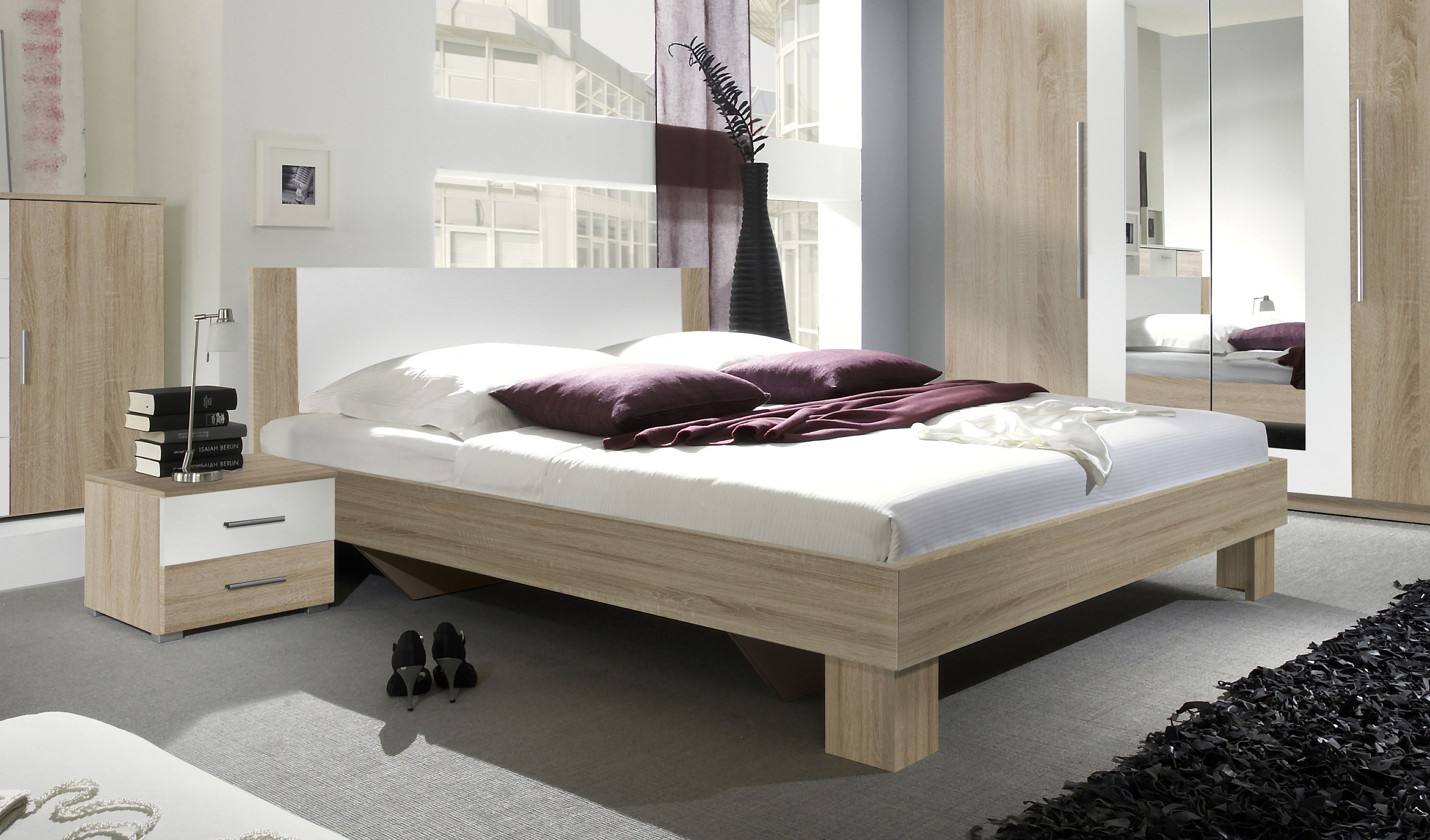 Bett 180 X 200 Cm Mit Nako Set Eiche Sonoma Weiss Helvetia Vera Holz Modern Jetzt bestellen unter komplett