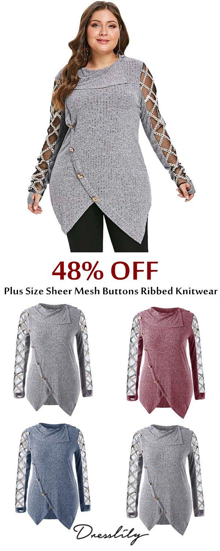 753d87fa9bc Plus Size Sheer Mesh Buttons Ribbed Knitwear.  dresslily  plussize   womenfashion