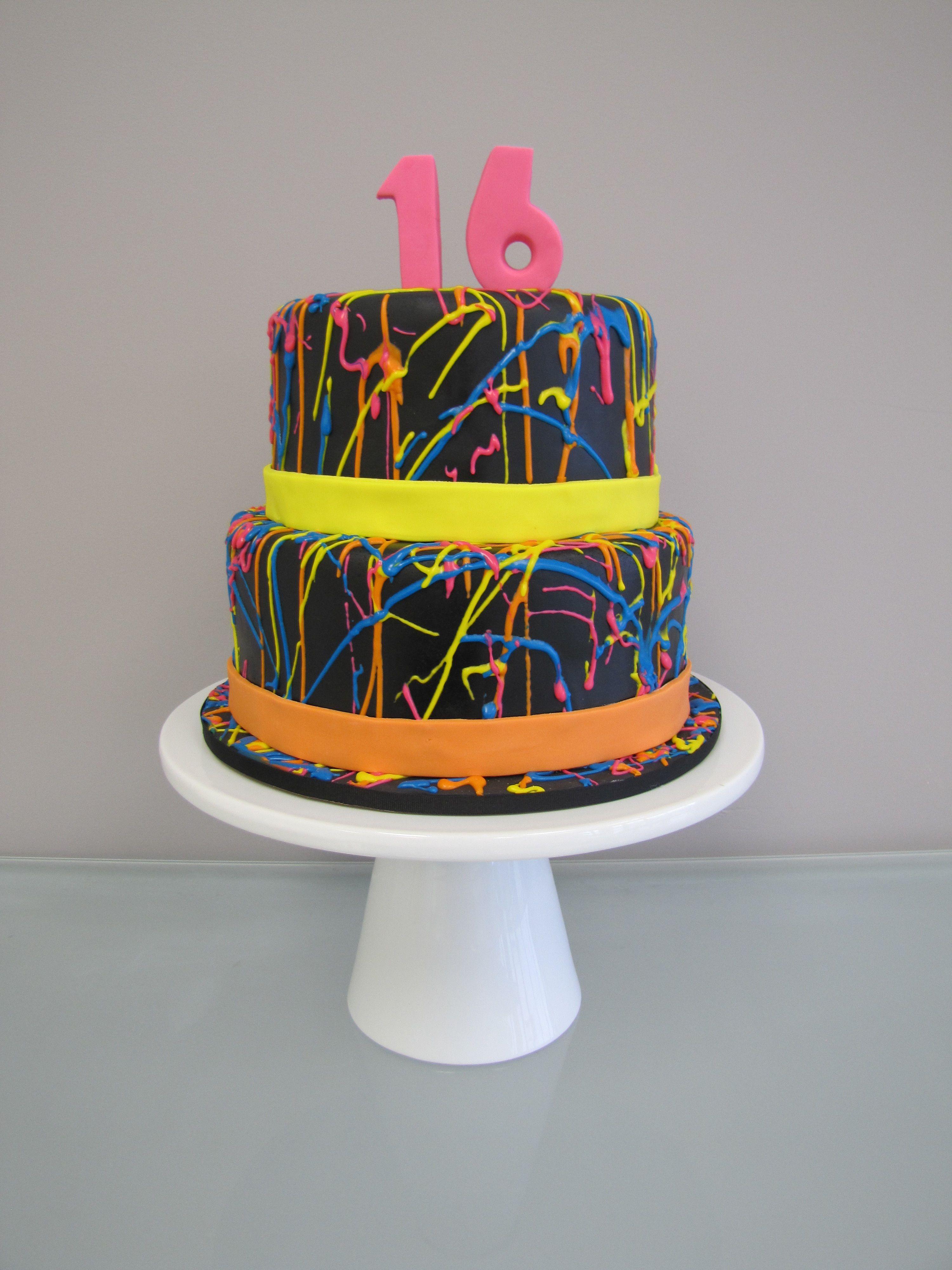 80s Neon Splatter Birthday Cake Birthday parties Pinterest