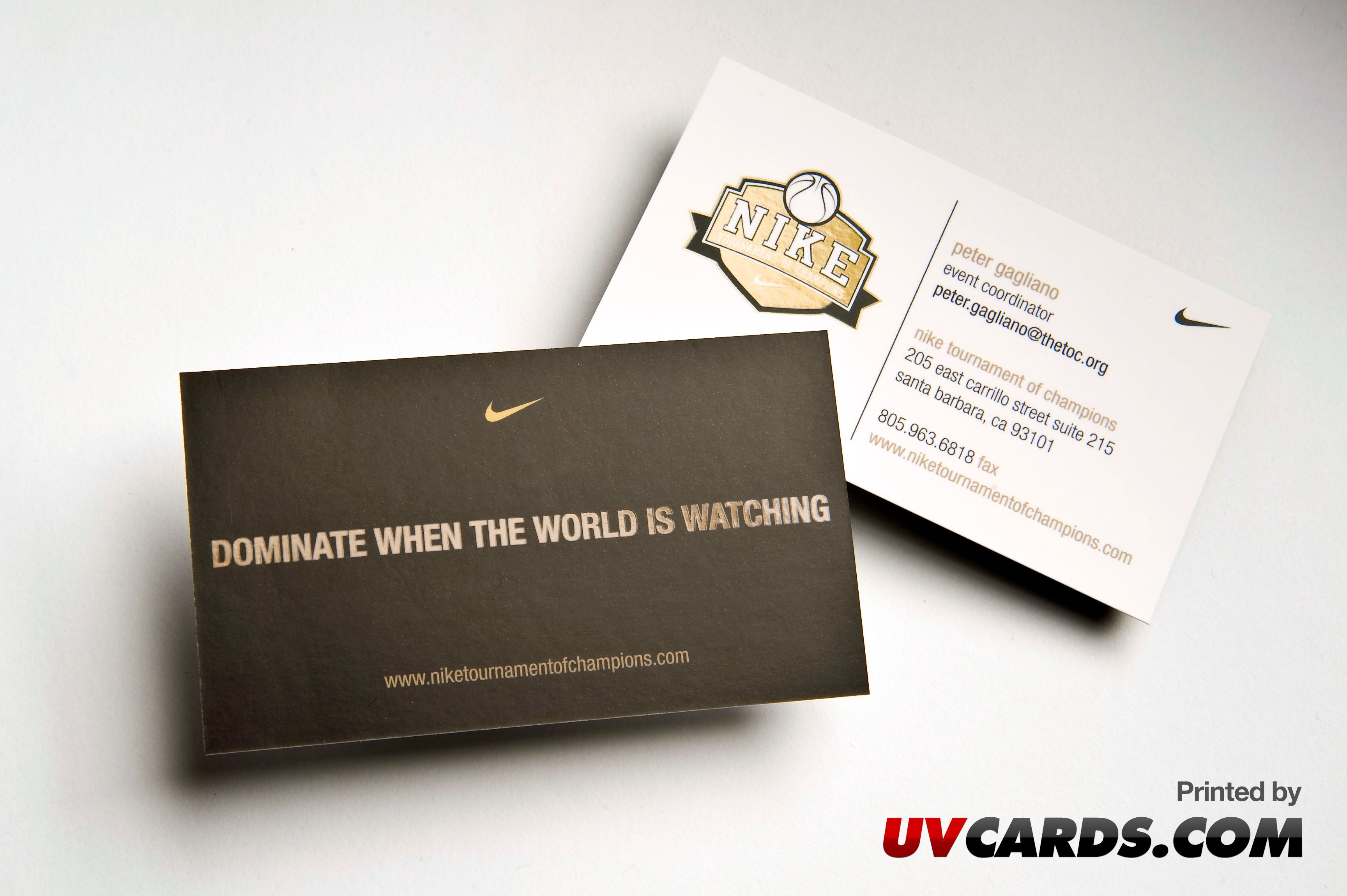 Silk Laminated Business Cards with Spot UV printed for NIKE by UV ...