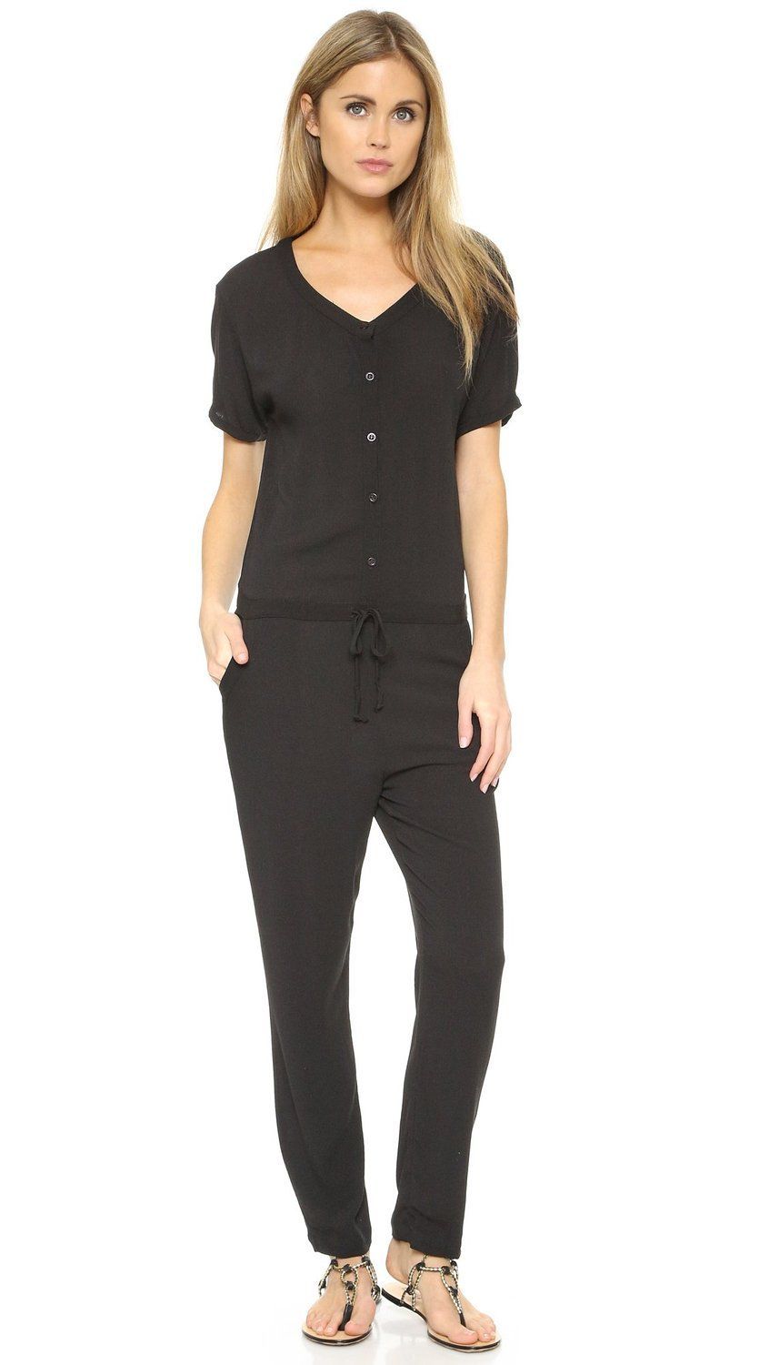ed6521408a72 Amazon.com  Wildfox Women s Solid Black Travel Jumpsuit  Clothing ...