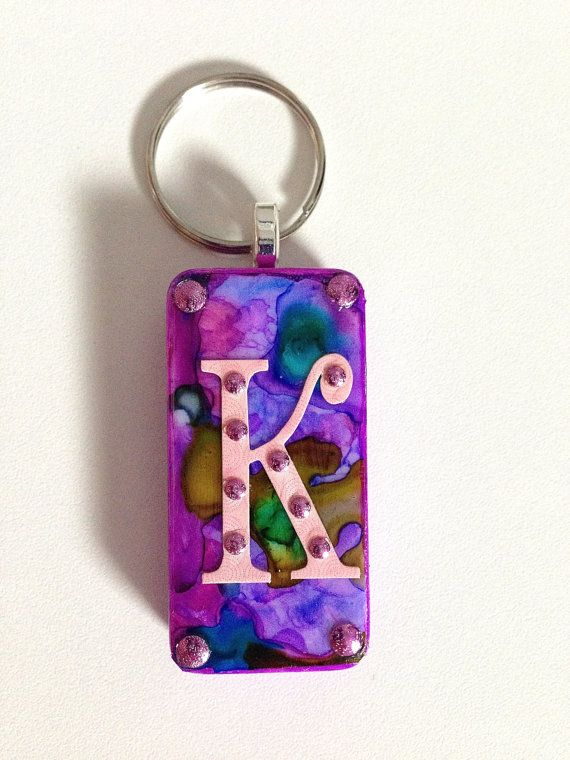 Interchangeable Alcohol Ink Purple and Pink Domino