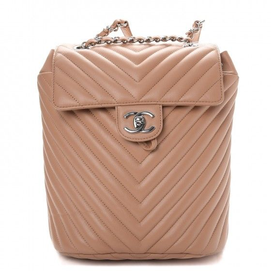 6c81a9ecb41f This Is An Authentic Chanel Calfskin Chevron Quilted Small Urban Spirit  Backpack In Beige Stylish Crafted