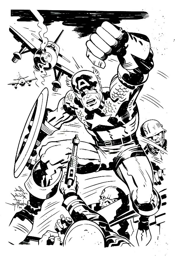 Captain America In One Of Marvel Super Hero Squad Coloring Page Netart