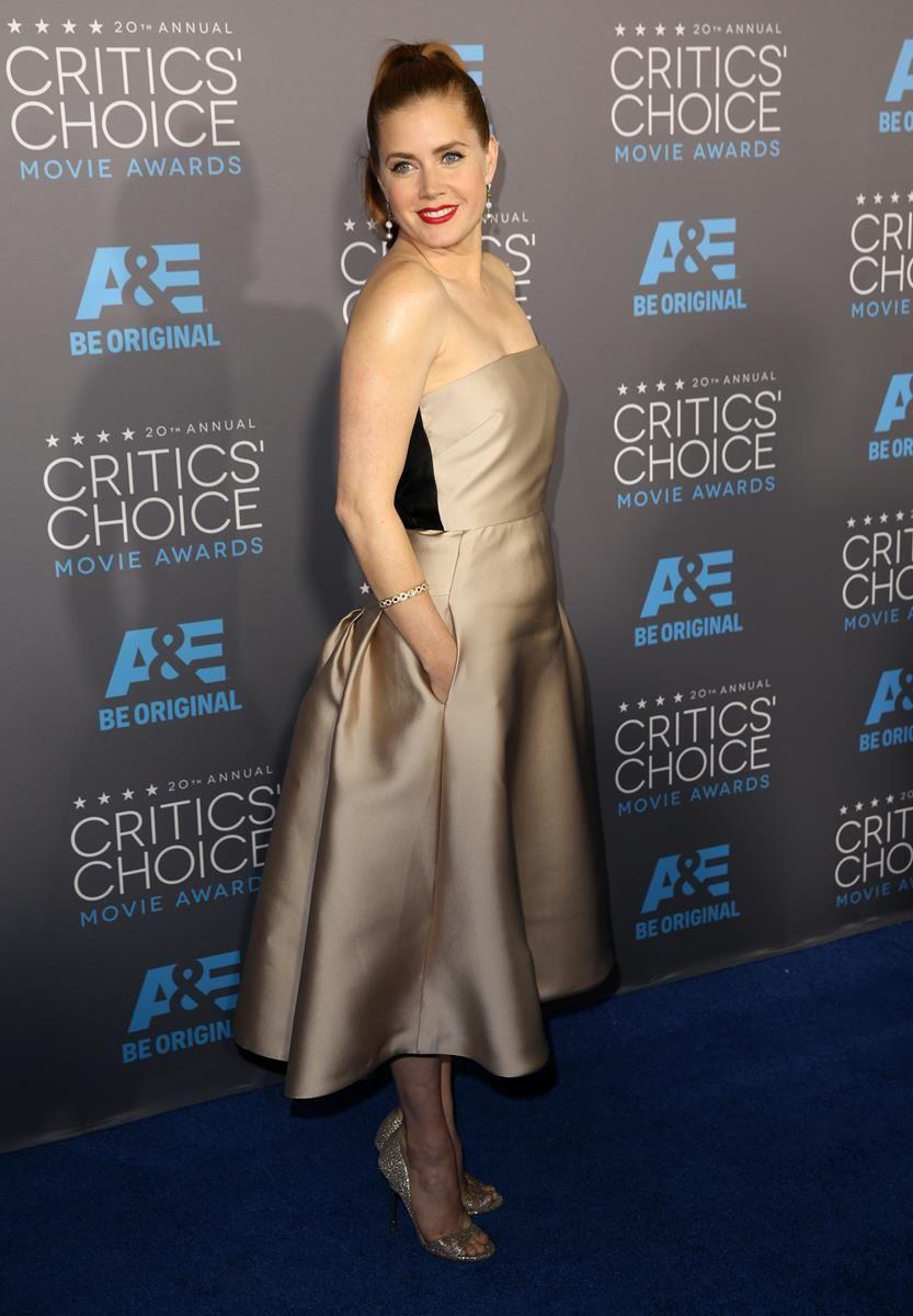 Amy Adams con un modelo de Max Mara, zapatos de Kurt Geiger y joyas de Neil Lane. El clutch era de Bottega Veneta.