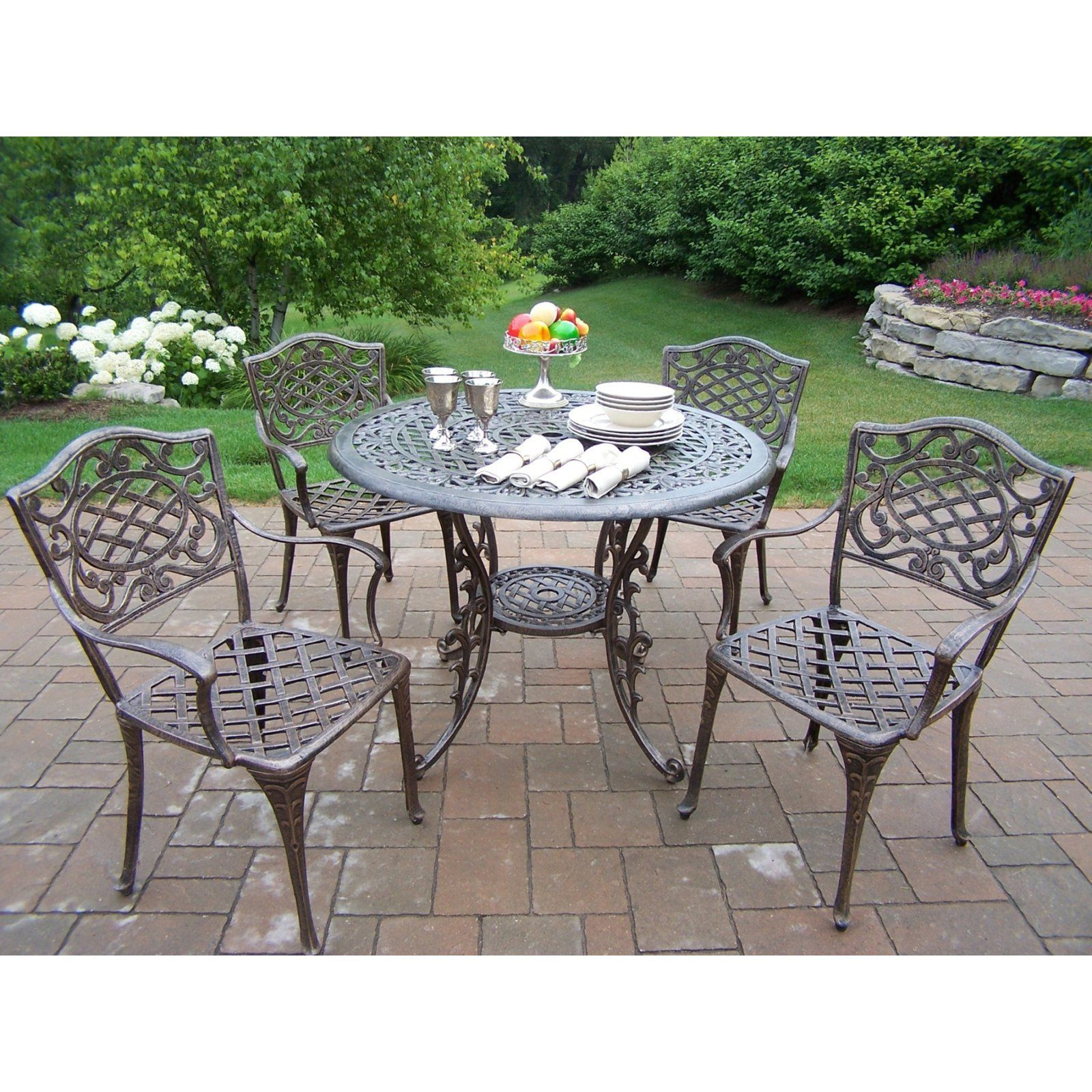 Outdoor Oakland Living Mississippi Aluminum 42 In Patio Dining Set