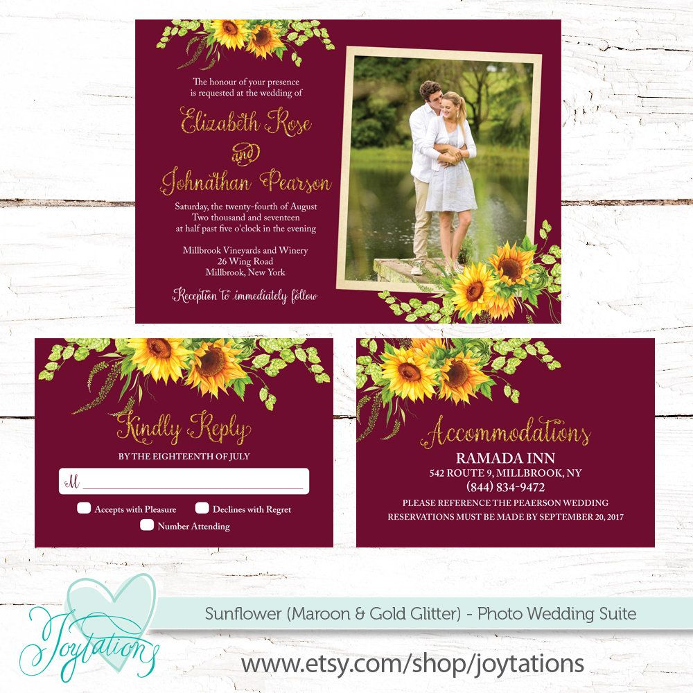 Sunflower Maroon and Gold Glitter Photo Wedding Invitation, RSVP ...