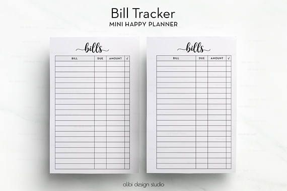 picture about Free Happy Planner Printable Inserts referred to as Invoice Tracker, MINI Joyful Planner, Planner Printable, MINI