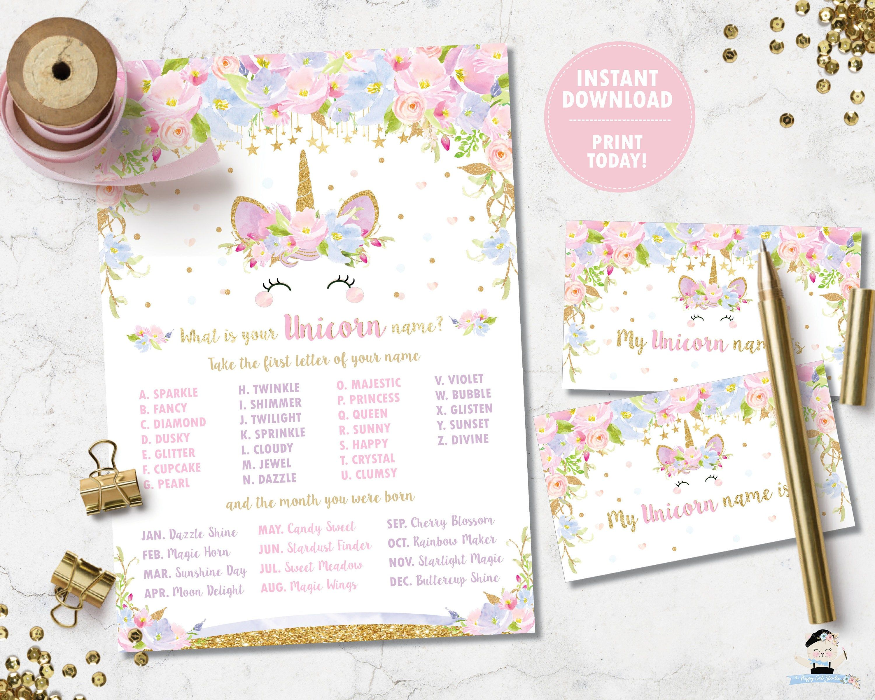 Unicorn Name Game What Is Your Unicorn Name Game Birthday Party Activity Cute Floral Pink B Birthday Party Activities 1st Birthday Games Party Activities