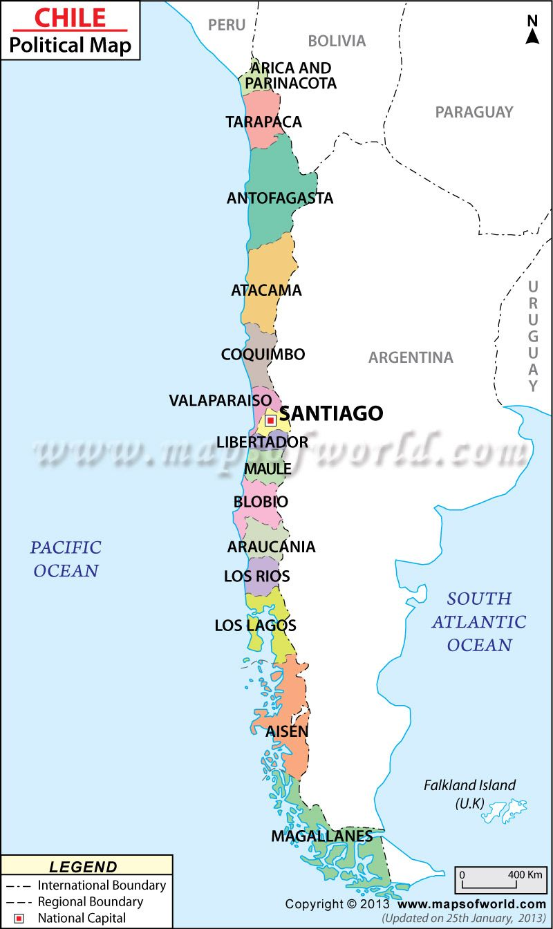 Political Map Of Chile Books Worth Reading Pinterest South - Map of chile