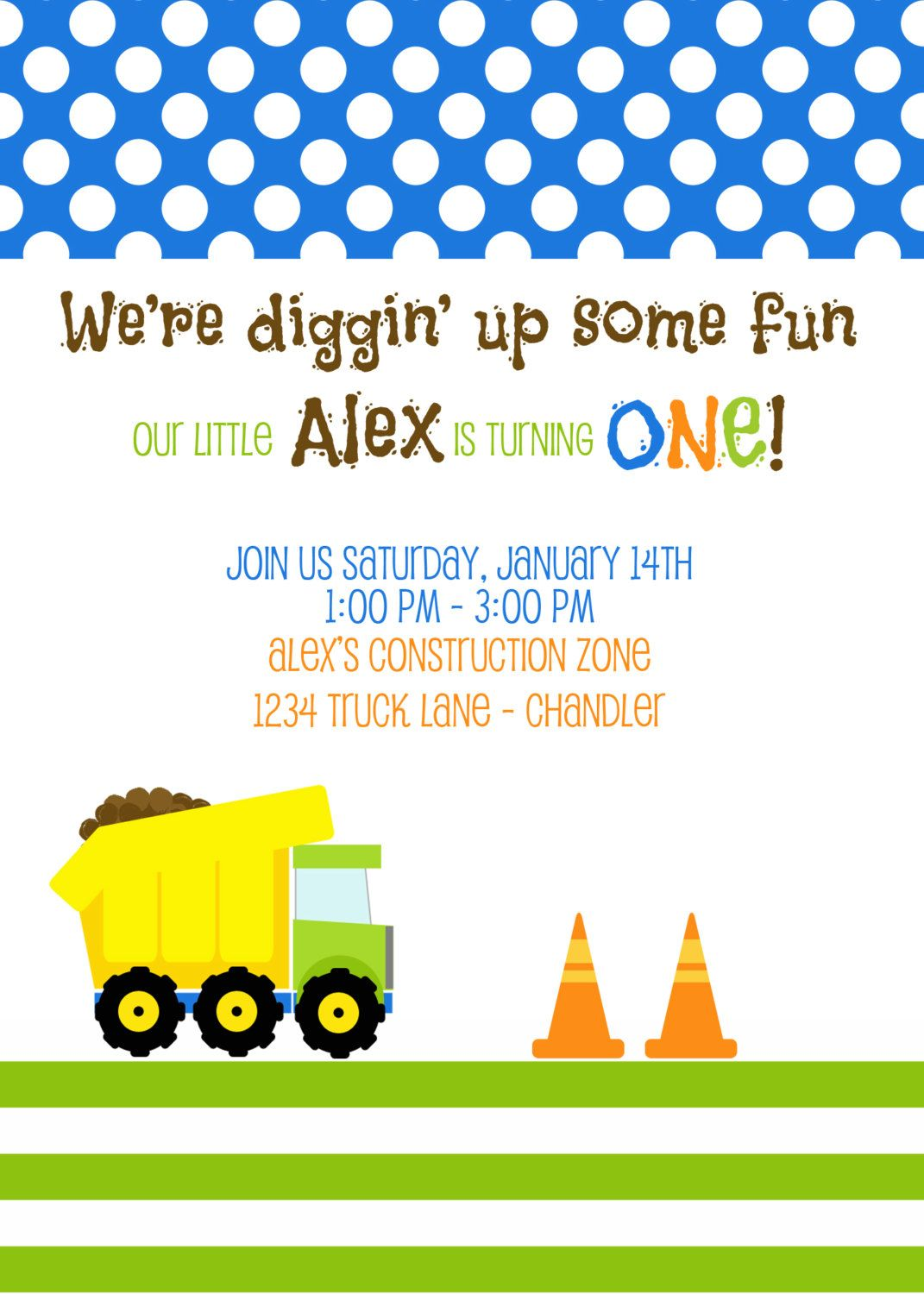 Construction Dump Truck Birthday Party or Baby Shower - Printable ...
