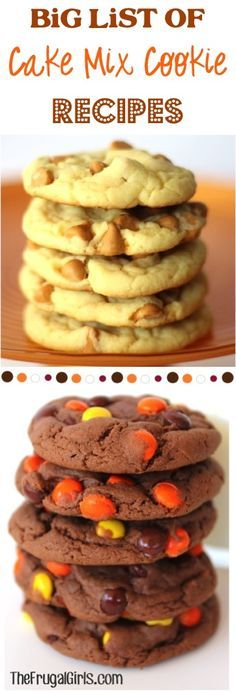 BIG List of Cake Mix Cookie Recipes! ~ from http://TheFrugalGirls.com ~ you'll love this HUGE list of delicious and easy cookies! Just a few ingredients!! #cakemix #recipe #thefrugalgirls
