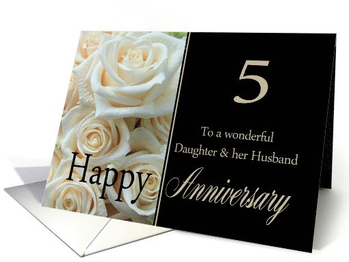 5th Anniversary Card For Daughter Husband Pale Pink Roses Card