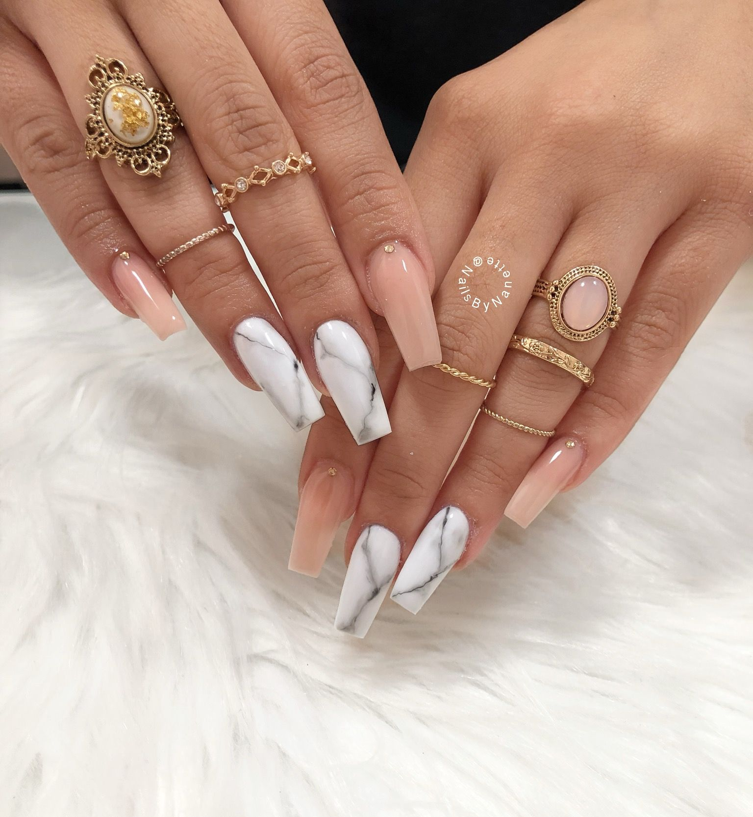 Nude Nails, Long Nails, Coffin Nails, Marble Nails -5851