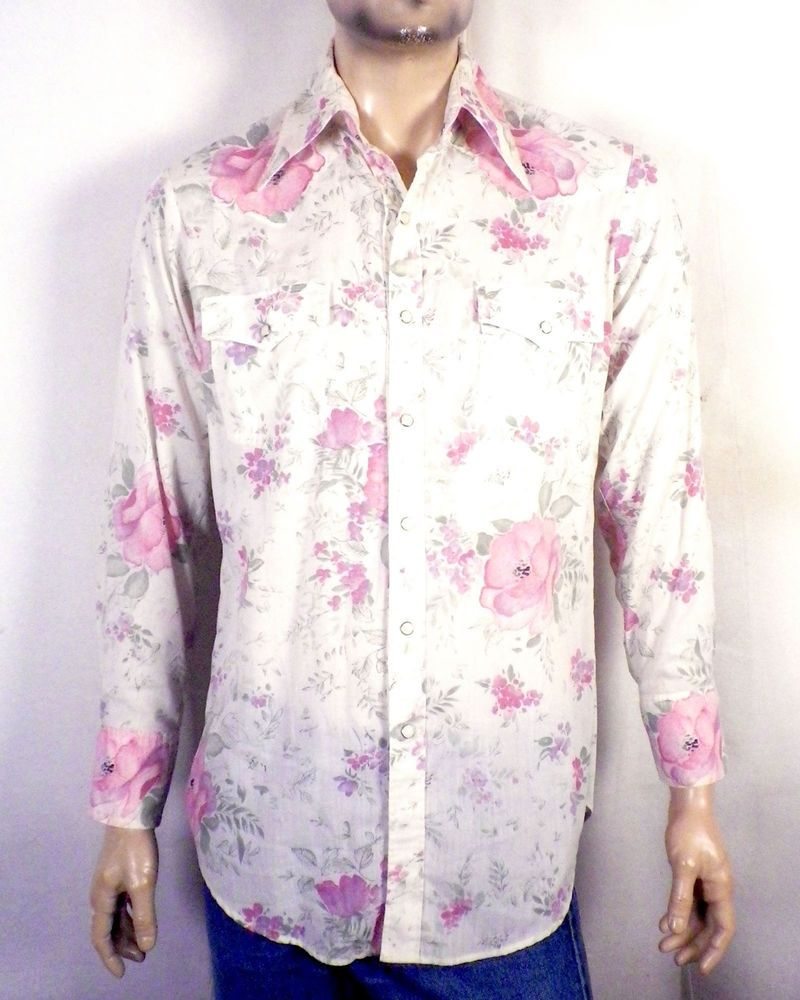 70s floral western snap shirt