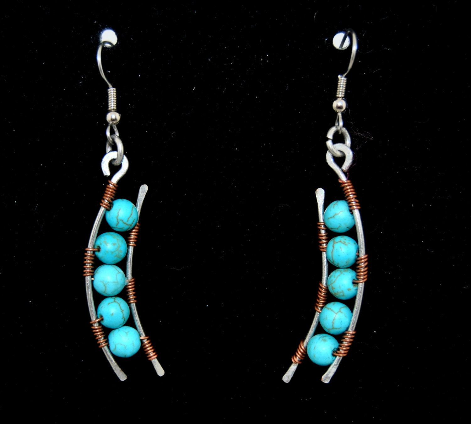 Waves of Turquoise Earrings. Wire wrapped jewelry. Handmade.. $15.00, via Etsy.
