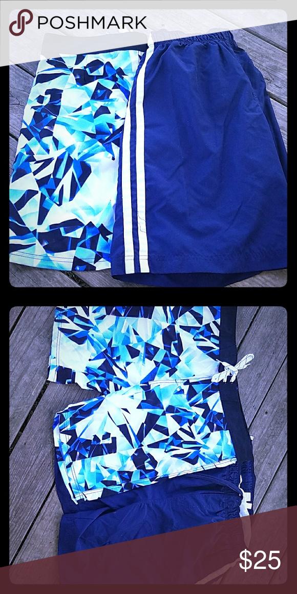 💗Men's size 36 waist  board shorts on left💗 The swim trunks on the left have no netting inside and are in mint condition. They are board shorts size 36 Swim Swim Trunks