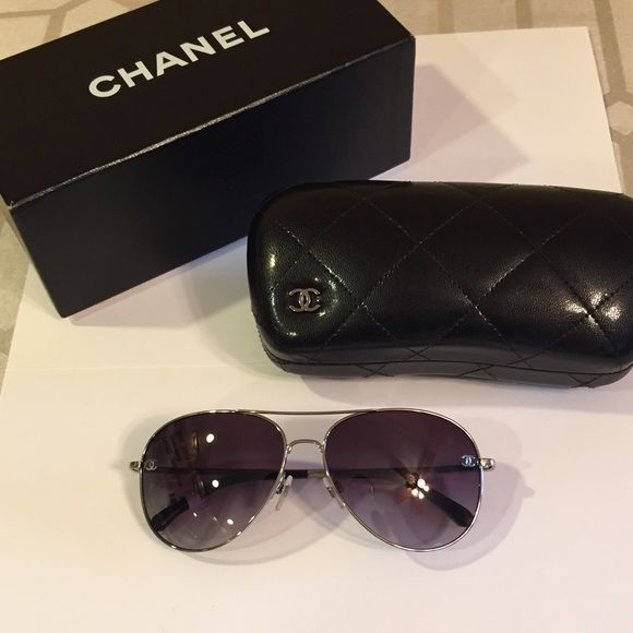 b6ff51d611 Authentic CHANEL Aviator Sunglasses BRAND NEW! Authentic CHANEL silver  aviator
