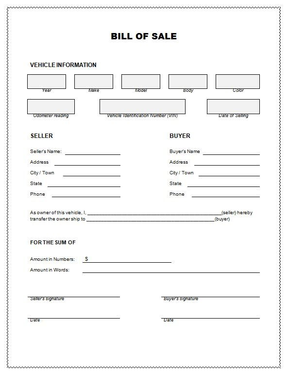 bill of sale Bill Of Sale For Car Template Info Pinterest - sample vehicle purchase agreement