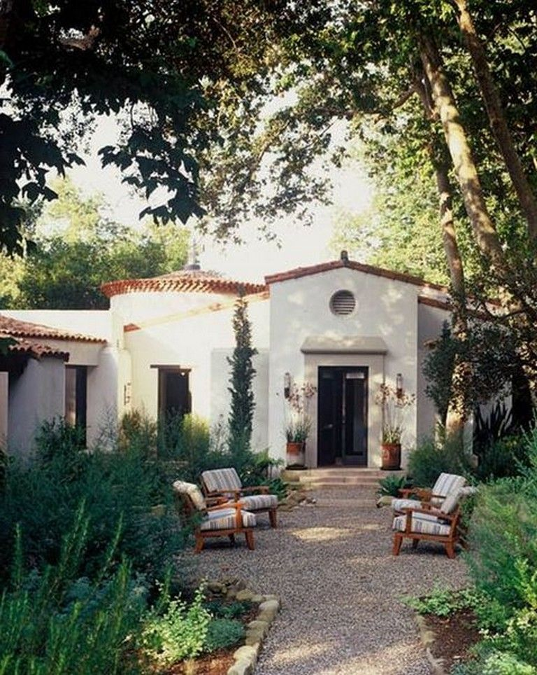 cozy simple courtyard gravels style ideas budget gravel styleideas also paul williams designed spanish home house of the day wsj rh pinterest