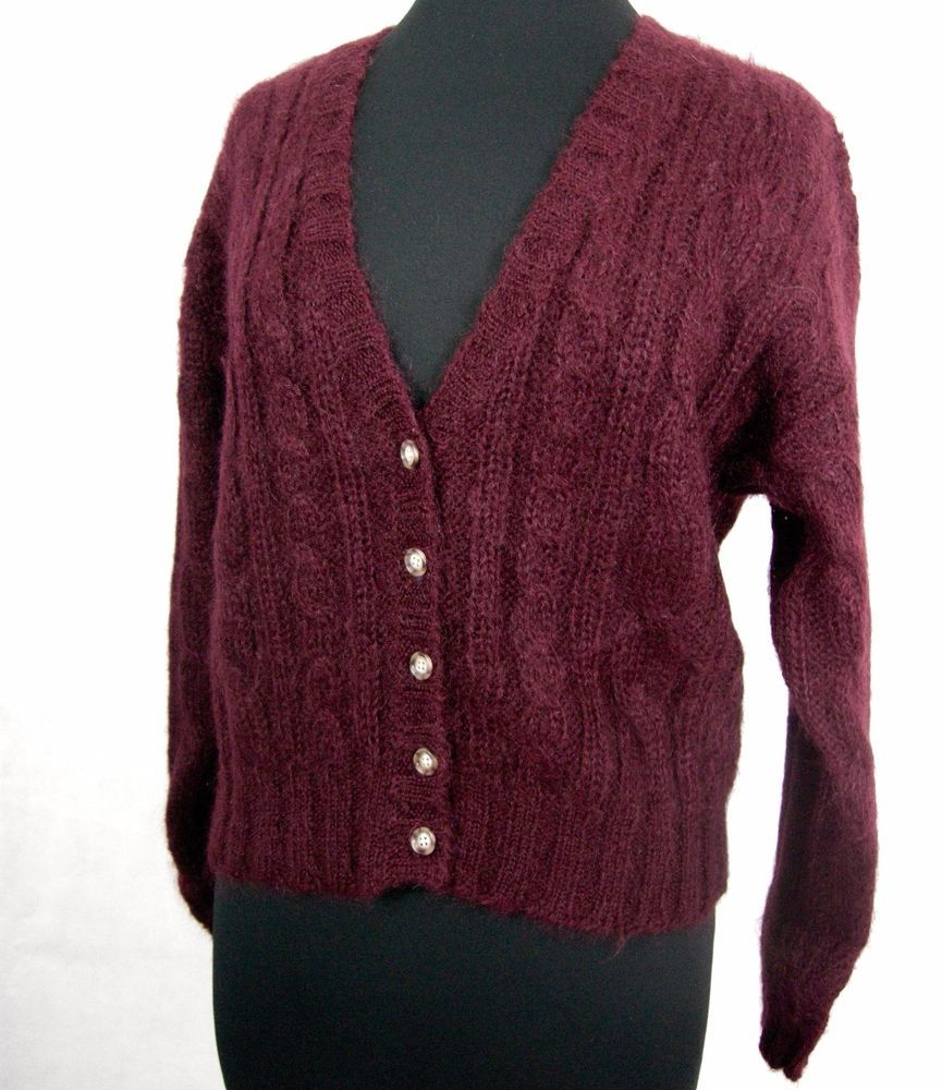 Maroon Plum Large Mohair Soft Cable Knit Knitted Cardigan J G Hook ...