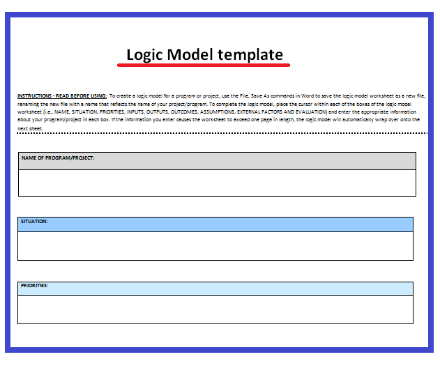 Logic Model Template  Wordstemplates    Template