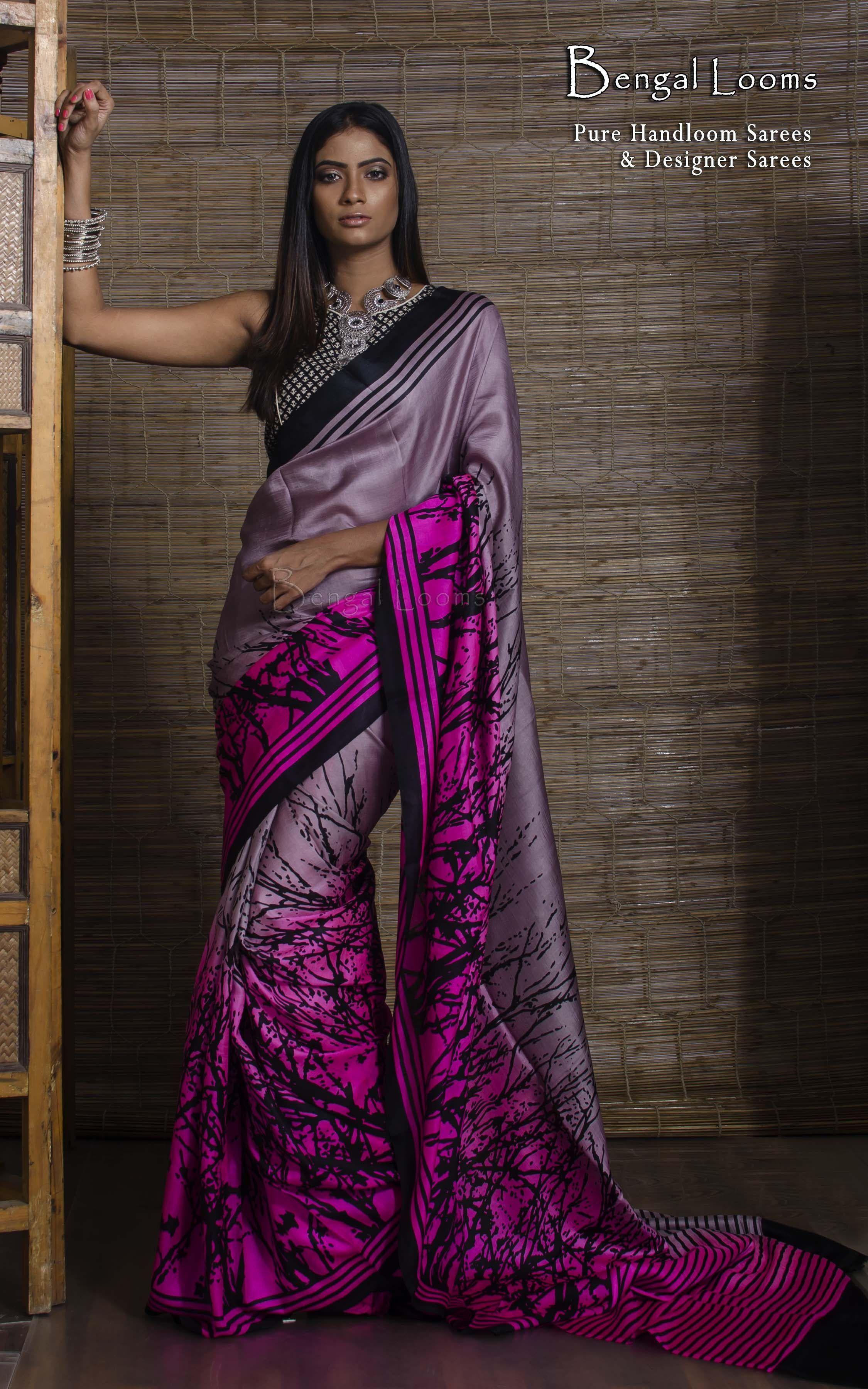 2b97a1803a Printed Pure Silk Saree in English Pink | Sarees in 2019 | Saree ...