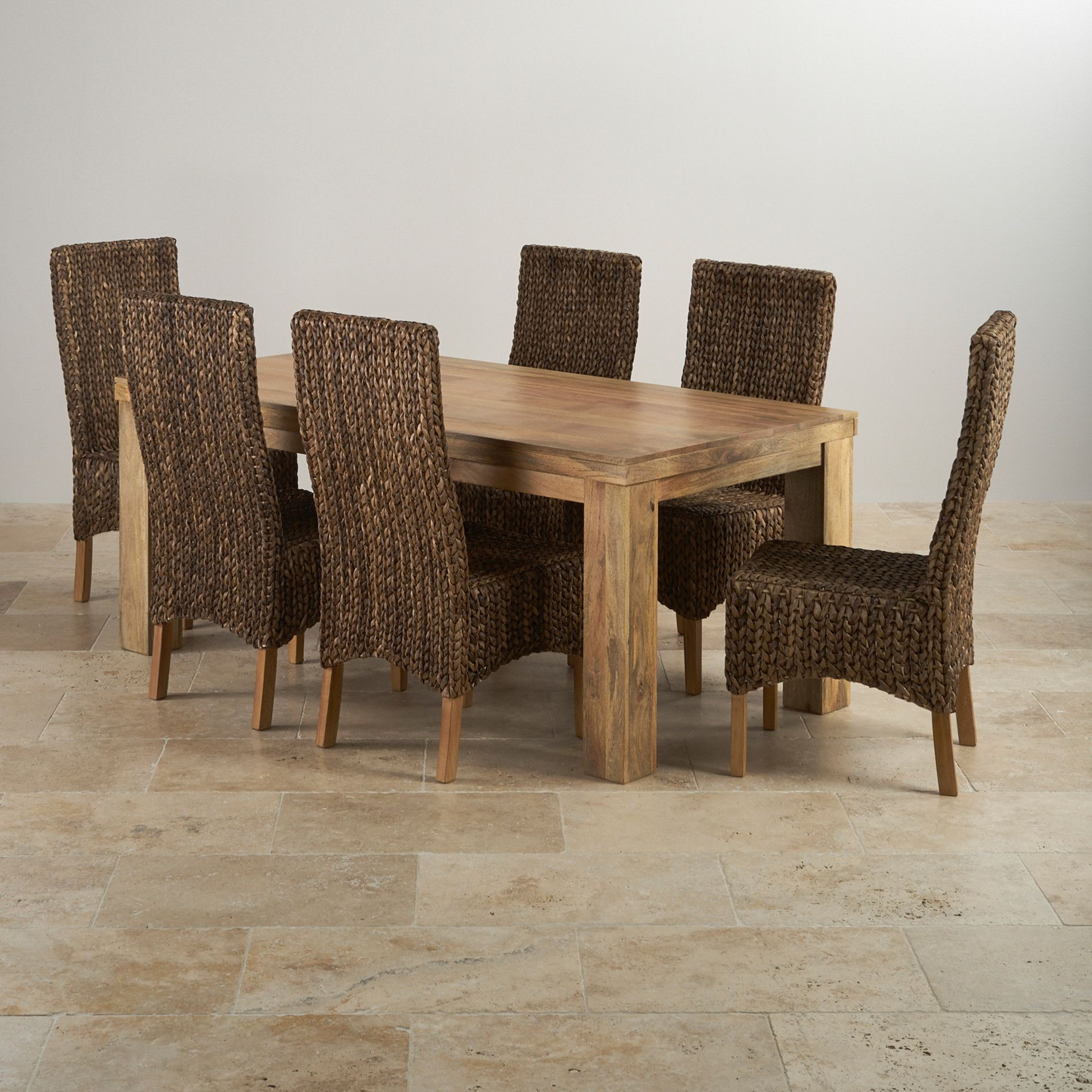 Natural Solid Mango Dining Sets 6ft Table With 6
