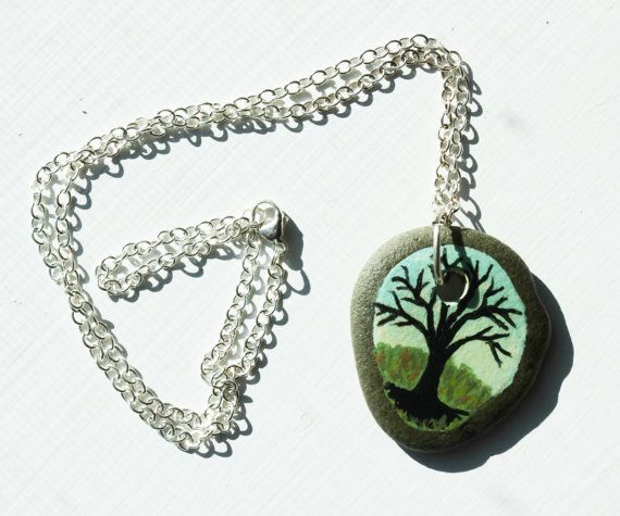 Of the Beach Tree of Life painted stone pendant and by EmaKDesigns, $35.00