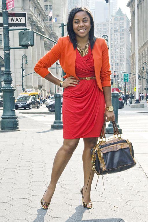 faux red wrap dress   orange blazer   leopard heels Angelene ...