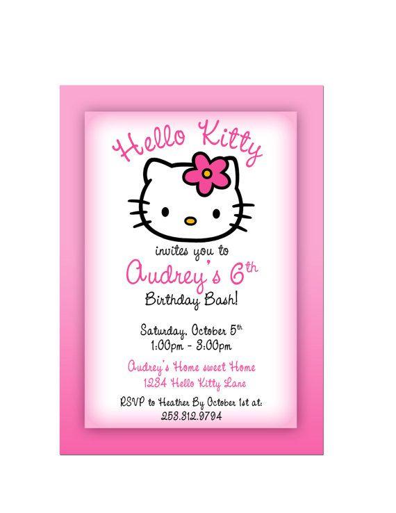 Hello Kitty Birthday Party Invitation Birthday Parties Pinterest