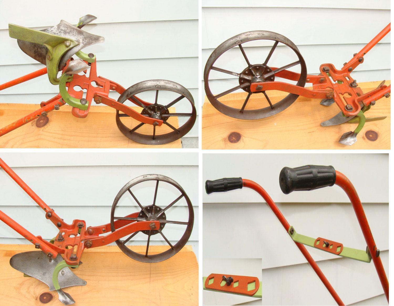 Old Hand Push Plow   Antique Cultivator Garden Farm Planet Jr. Implement    Vintage Gardening