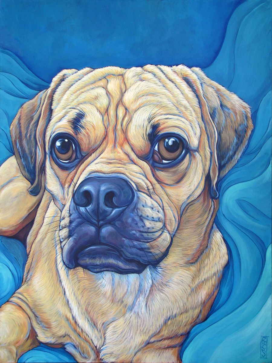 "Pepper the Puggle in Turquoise Blankets Custom Pet Portrait Painting in Acrylic Paint on 30"" x 40"" Canvas from Pet Portraits by Bethany. #puggle #pug #petportrait #custmopetportrait #petart"