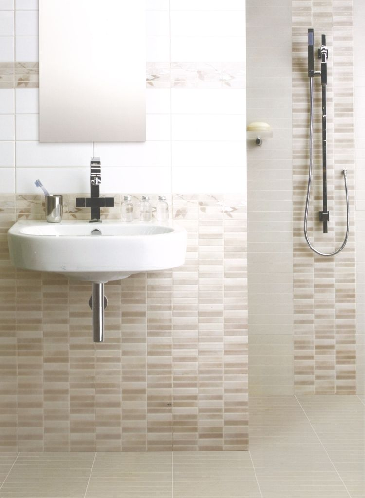 Charmant Bathroom, Alluring Mosaic Tiles Wall Design For Small Bathroom Space Feat  Trendy Floating Sink Under Frameless Mirror   Choosing The Right Design For  Your ...
