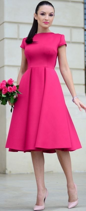 Fuchsia Midi Dress Holiday Style Inspo by My Silk Fairytale #fuchsia