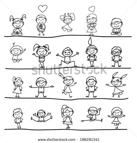 Hand Drawing Cartoon Concept Happy Kids Playing Personagens De