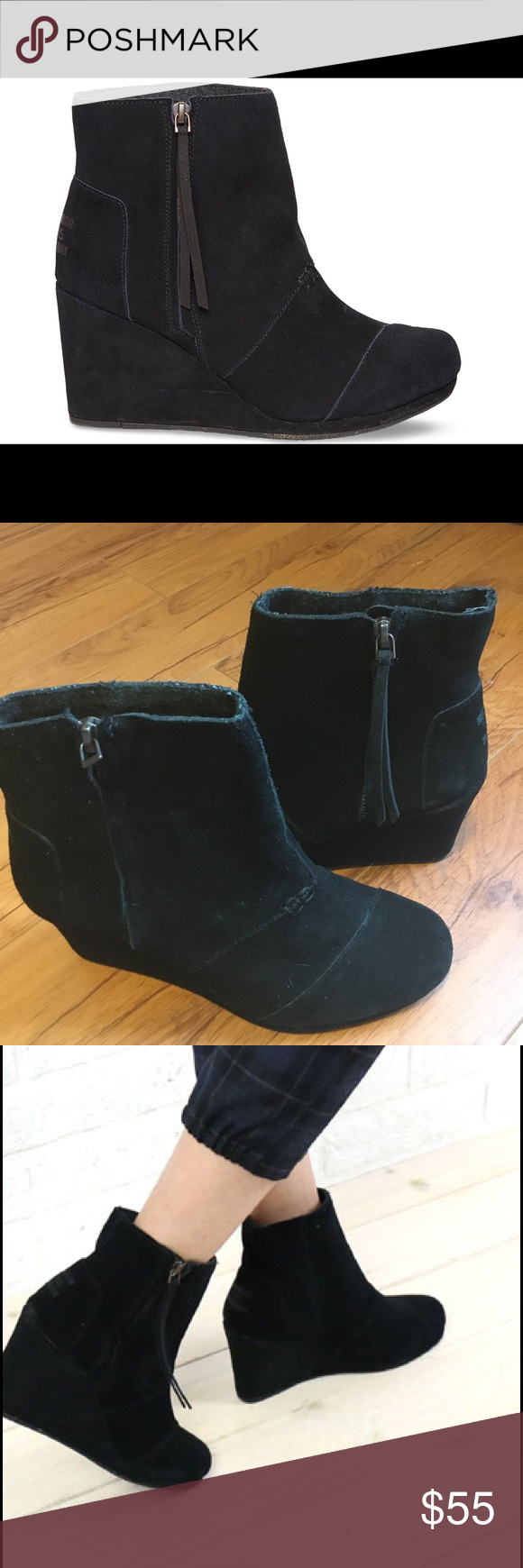 TOMS black suede desert wedge boots NWOT These boots are brand new never worn. I tried them on and walked around the store in them but when I got home I noticed the little black tassel on one zipper was missing. The next day my mom got me another pair for my b day lol. These are so cute and sexy they go with everything!!! TOMS Shoes Ankle Boots & Booties