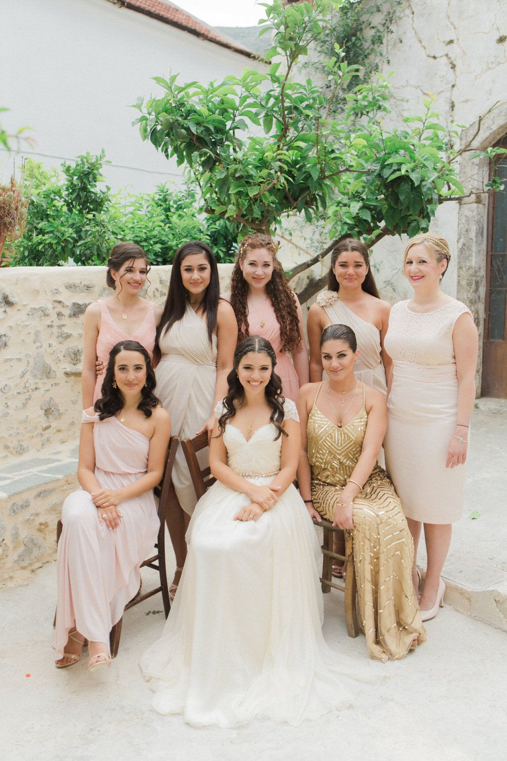 Traditional greek wedding with sarah seven wedding dress nude traditional greek wedding with sarah seven wedding dress nude bridesmaid dresses pastel rose bouquet ombrellifo Image collections