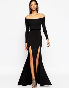 Fashion · ASOS Long Sleeve Crop Top Bardot Maxi Dress ...