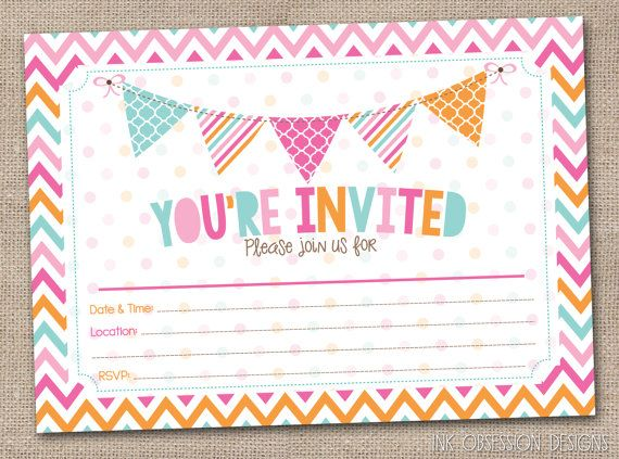 Fill In Printable Party Invitations Instant By Inkobsessiondesigns