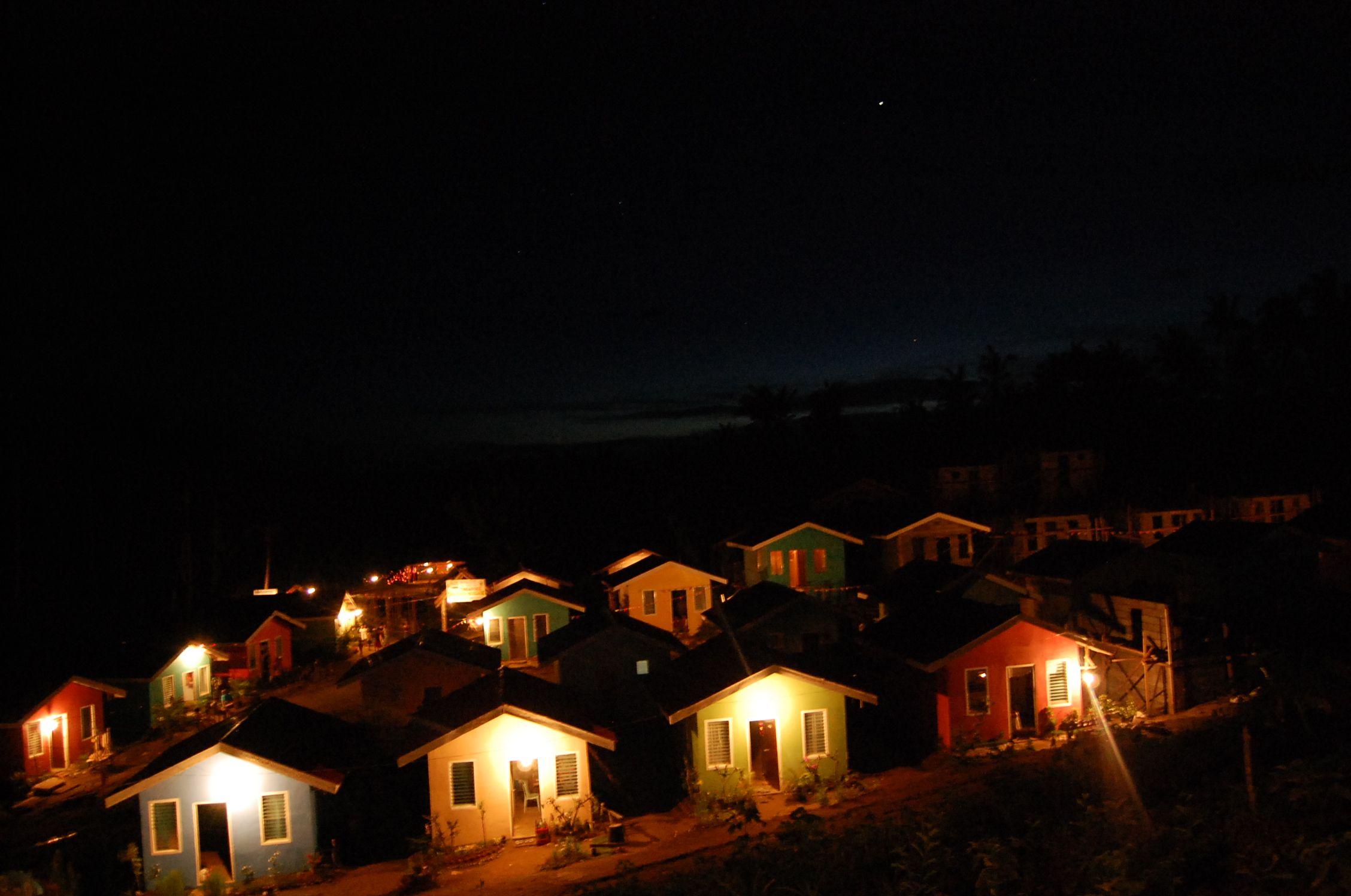 Light amidst the darkness. Night shot of Gawad Kalinga Homes.